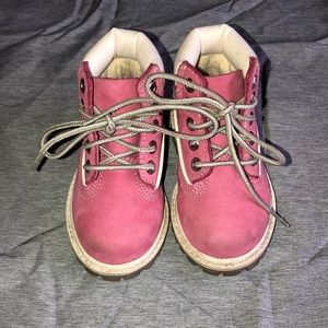 Pink and White Toddler Timberland Boots